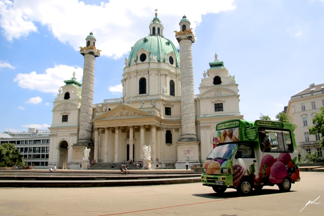 baroque church, karlskirche, ice truck in front of church, beautiful church